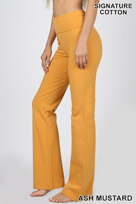 Cotton Flare Pants Ash Yellow W Yoga Band Size Small, Medium