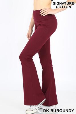 Cotton Flare Pants Dk Burgundy W Yoga Band Size Small, Medium