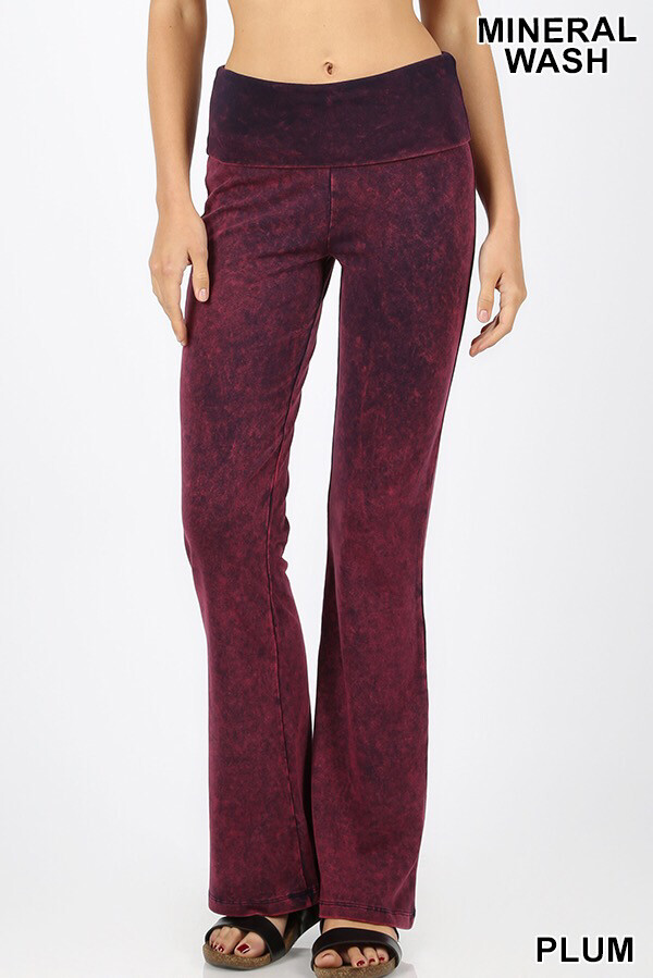 Cotton Flare Mineral Wash Plum W Yoga Band Size Large
