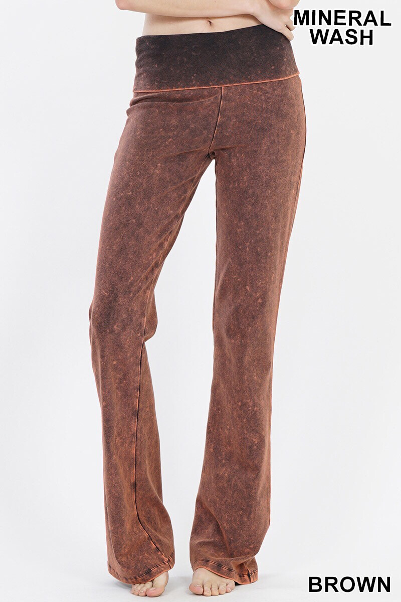 Cotton Flare Mineral Wash Brown Pants W Yoga Band Size Medium