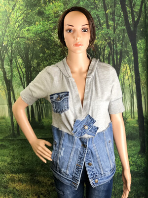 S Threads Short Sleeve Sweat Jean Pullover Upcycled Recycled Top Size S