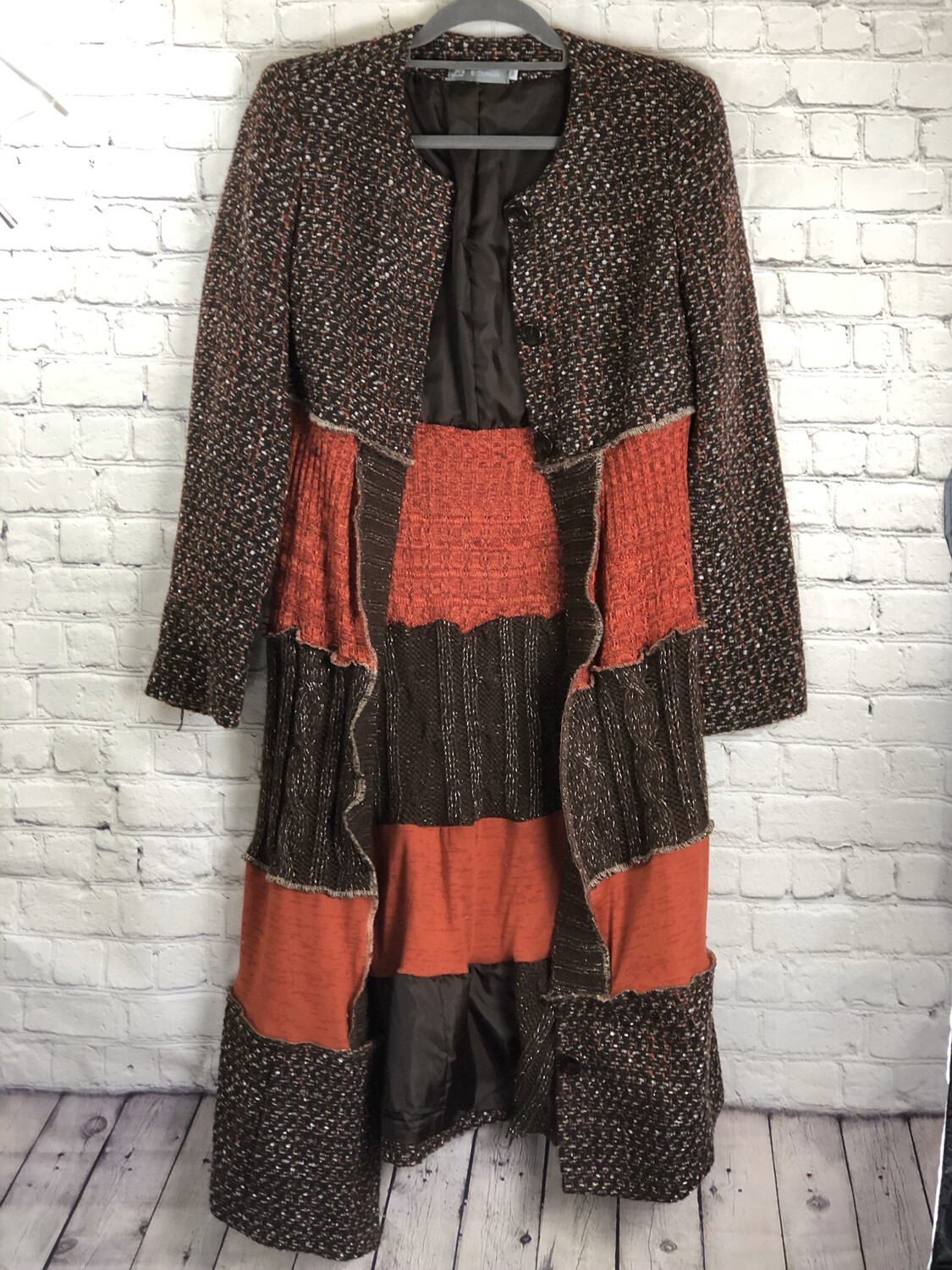 S Threads Upcycled Layer Jacket AKA Jayer In Brown and Orange Blazer Recycled Sweaters Size M