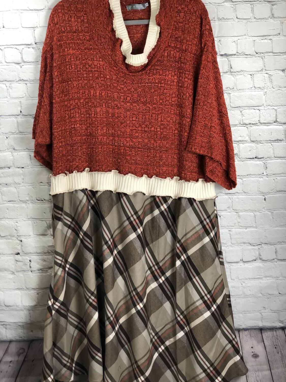 Upcycled Plaid Rust Orange Sweater Dress