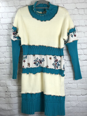 S Threads Recycled Cream Teal Layer Floral Sweater Dress Lettuce Hem Serged Edge Size L