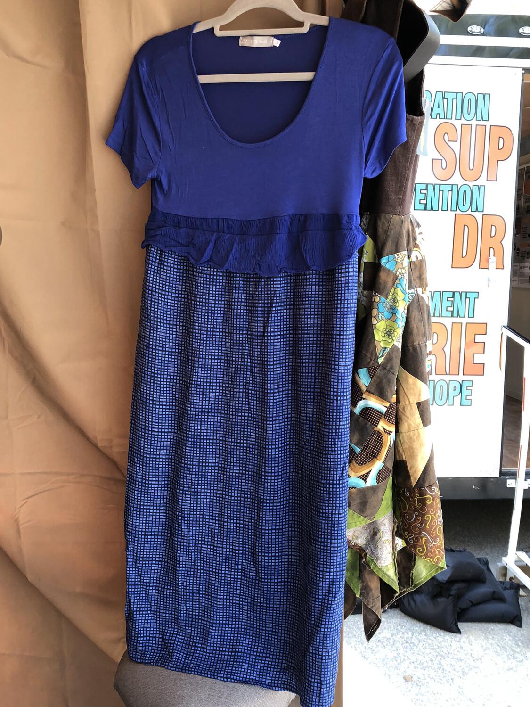 Royal Blue Short Sleeve Checkered Dress