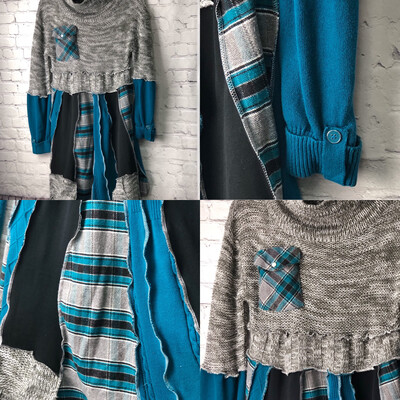 Recycled Flannel Plaid Sweater Dress