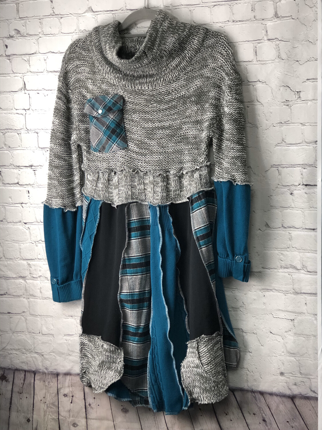 S Threads Recycled Flannel Plaid Sweater Dress