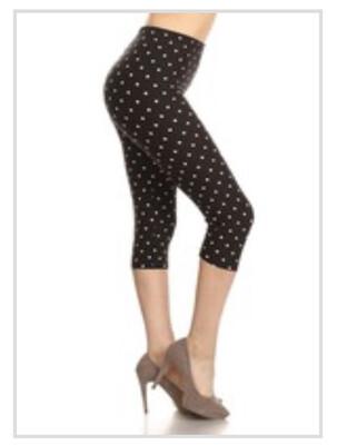 Capri Leggings Polka dot Print One Size