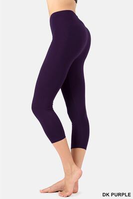 Capri Length Cotton Pants Purple