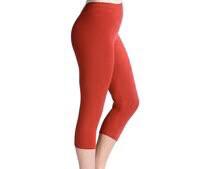 Capri Leggings Tango Red Solid Color One Size