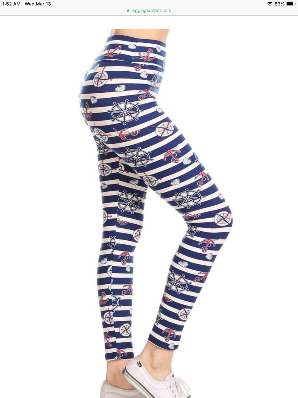 Leggings Nautical Print One Size