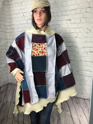 S Threads Upcycled Corduroy Sweater Poncho