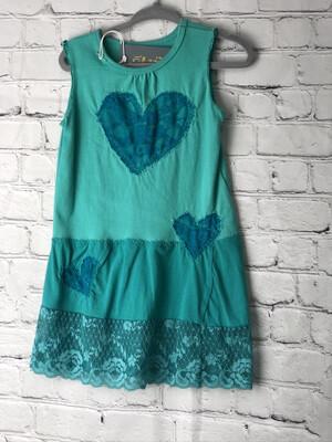 Child Teel Dress Appliqué Heart
