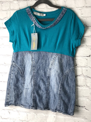 S Threads Kids Upcycled Recycled Short Sleeve Teel and Jean Shirt Size Child L