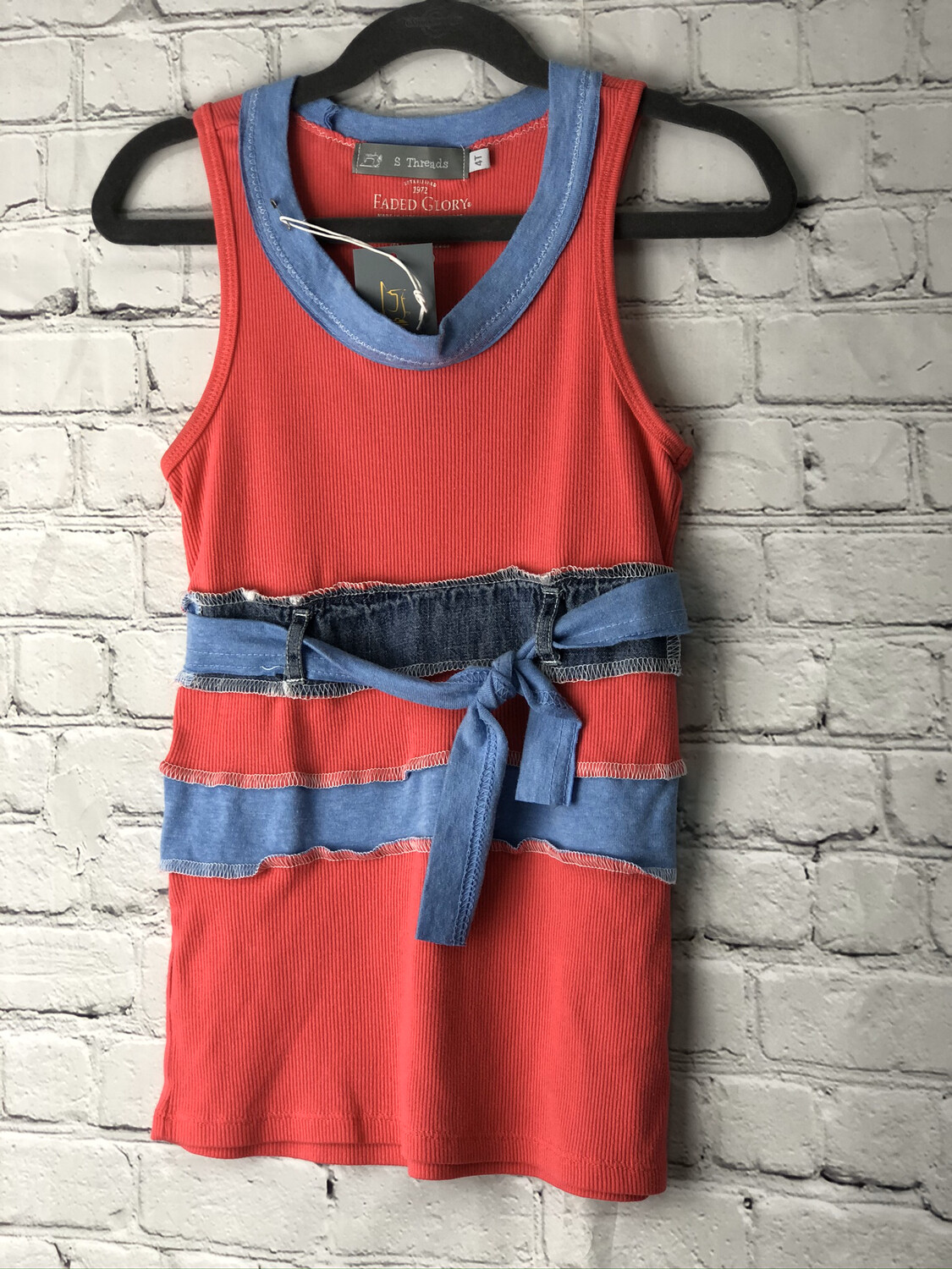 Child Pink & Blue Upcycled Top W/ Belt