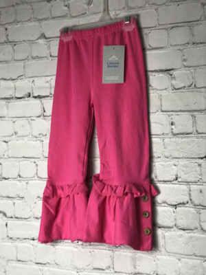 Childs Ruffle Pants With Buttons -Pink