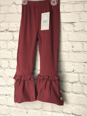 Childs Ruffle Pants With Buttons -Burgundy