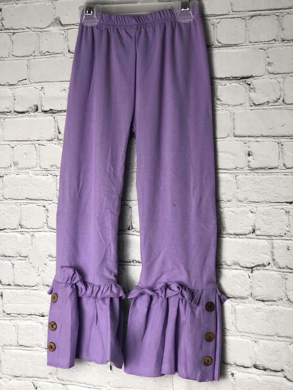 Kids Ruffle Pants W Buttons - Purple