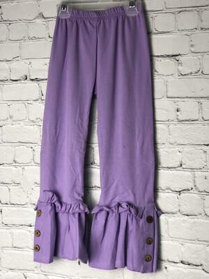 Childs Ruffle Pants W Buttons - Purple