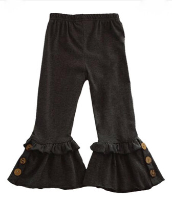 Childs Ruffle Pants With Buttons - Black