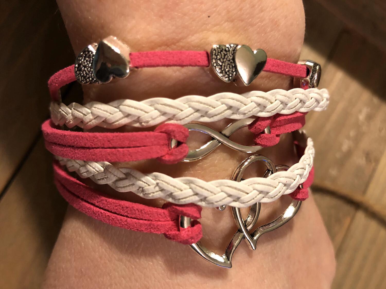 Multilayer Bracelet Pink Hearts