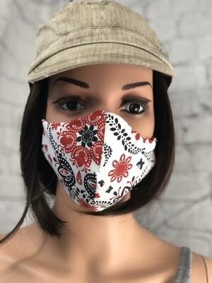 Red Black White Handkerchief Fabric Handmade Face Mask