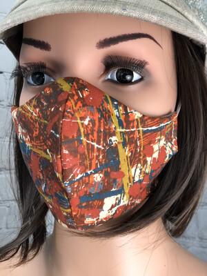Splatter Art Print Fabric Handmade Face Mask