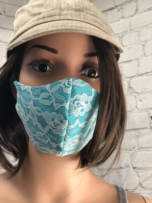 Glamour Collection Teel W White Lace Handmade Face Mask