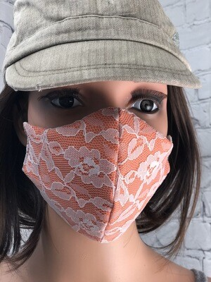 Glamour Collection Orange W White Lace Handmade Face Mask