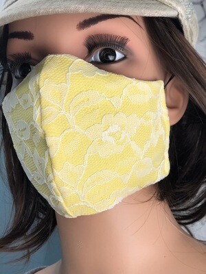 Glamour Collection Yellow W White Lace Handmade Face Mask