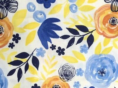 Blue Yellow Orange Floral Print Handmade Face Mask