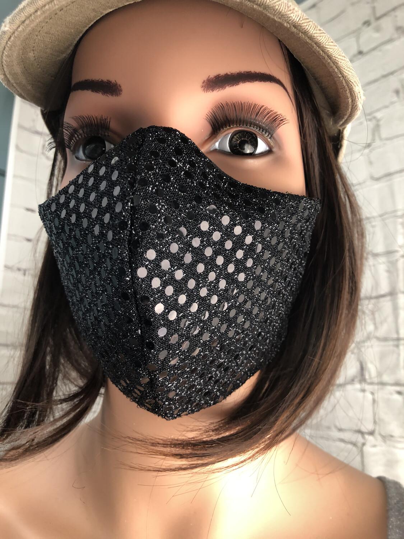 Sequin Black Handmade Face Mask