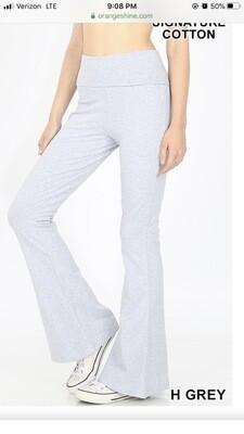 Cotton Yoga Pant Flare Cuff Lt Gray Size Small, Medium, Large