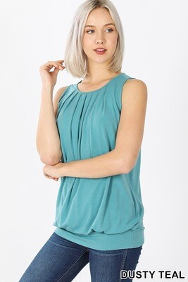 Top Sleeveless Round Neck Pleated With Waistband Teal Size L