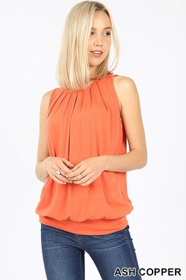 Top Sleeveless Round Neck Pleated Waistband Ash Copper Size M L