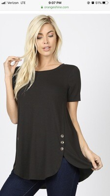 Top Short Sleeve Side Buttons S