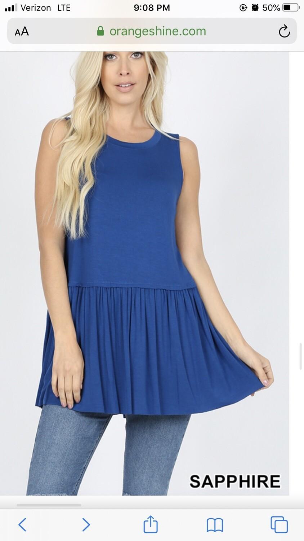 Top Sleeveless Ruffle Bottom Sapphire Blue Size M L XL