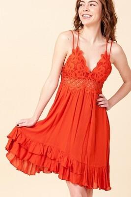 Dress Orange Lace HyFyVe Flirty Ruffles Size M L