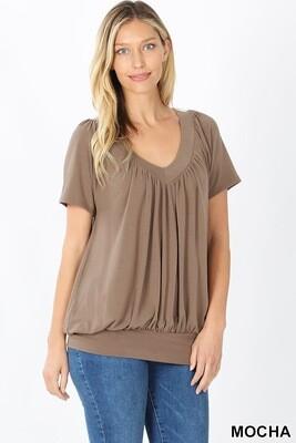 Top V-Neck Short Sleeve Pleated With Waistband Mocha