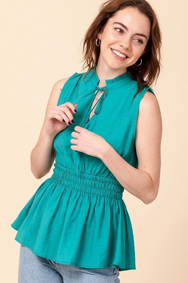 Top Sleeveless Smocked Waist Emerald Size S M L