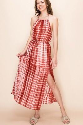 Dress Tie Waist Halter Maxi Tie Dye Size M L