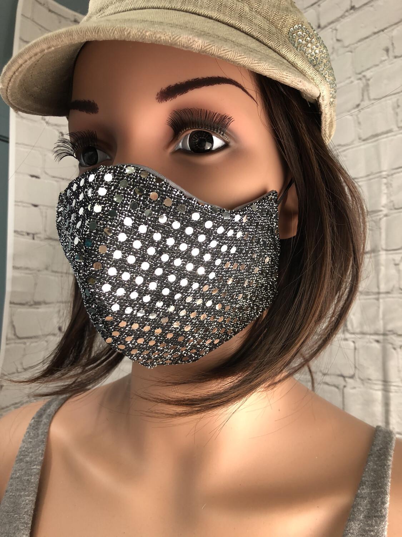 Sequins Silver Handmade Face Mask