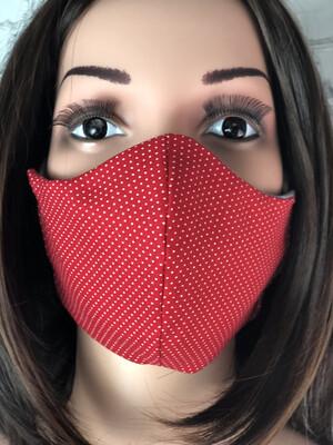 Red Polka dot Print Handmade Face Mask