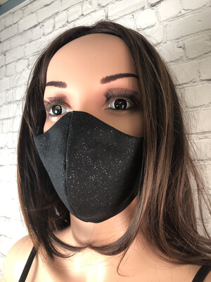 Black Sparkle Handmade Face Mask