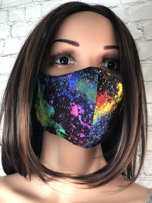 Rainbow Splatter Colorful Handmade Face Mask