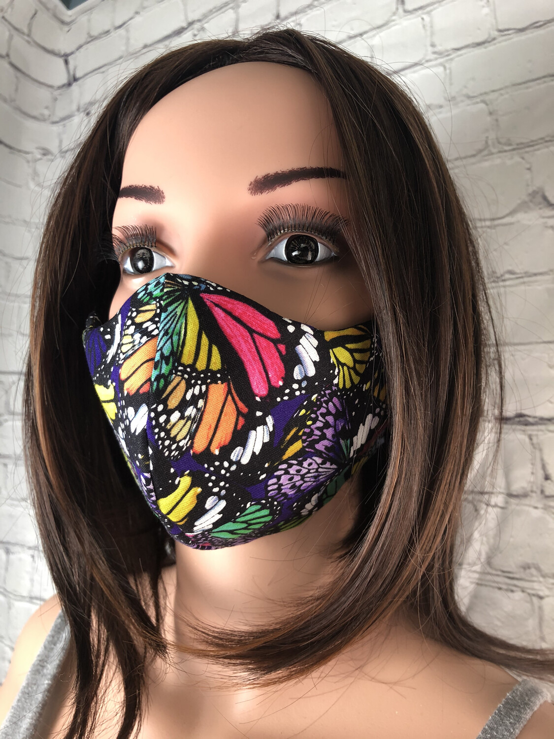 Butterfly Multi Colored Print Handmade Face Mask