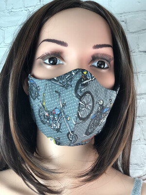 Motorcycle Print Handmade Face Mask