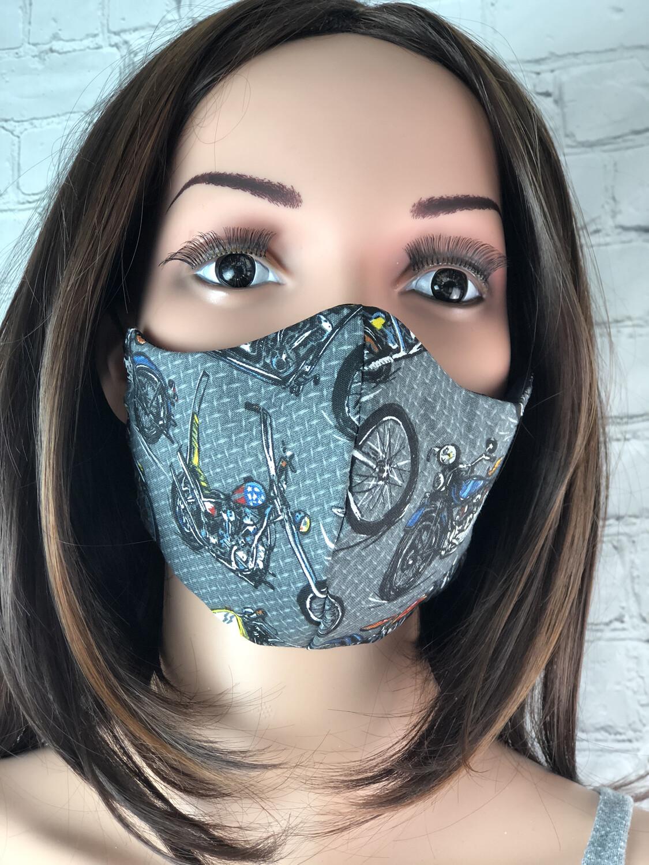 Motorcycle Print Handmade Face Mask