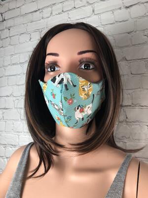 Cat Print Handmade Face Mask
