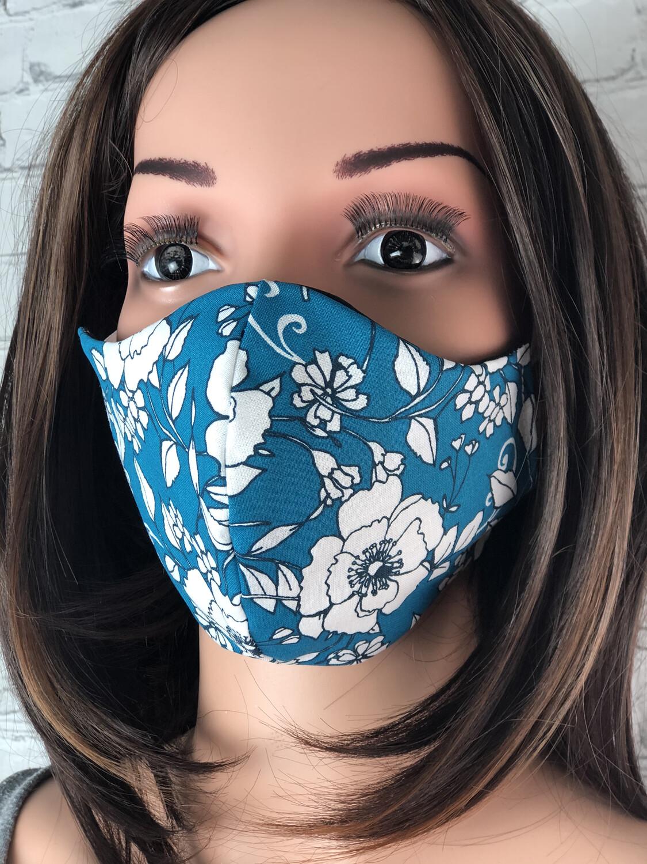 Blue Floral Print Handmade Face Mask